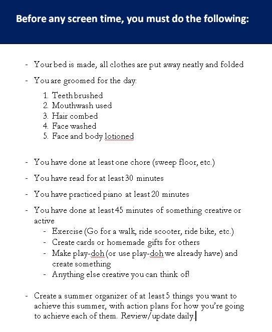Summertime Checklist for Kids